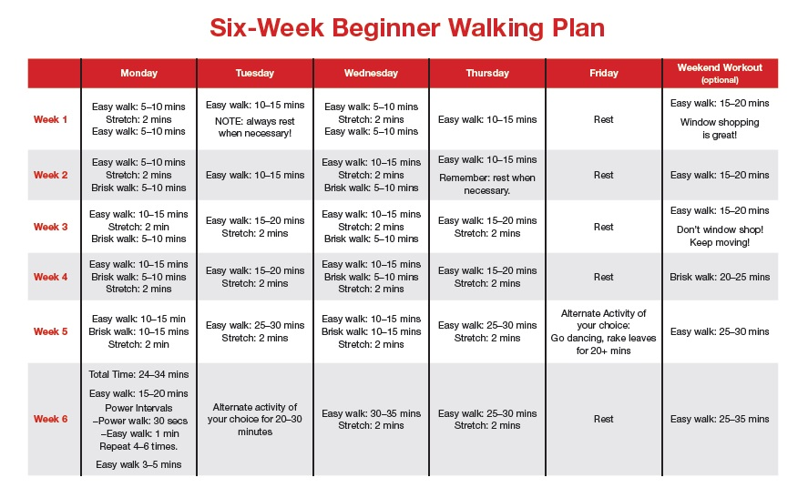 Six Week Beginner Walking Plan