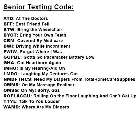 Senior Texting Code 2014